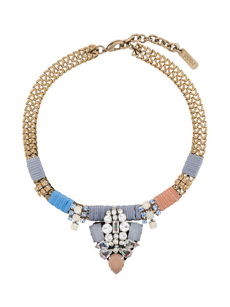 RADÀ women embellished necklace silk grey metallic jewels