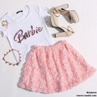 shirt skirt pink floral texture skater skirt circle skirt overlay