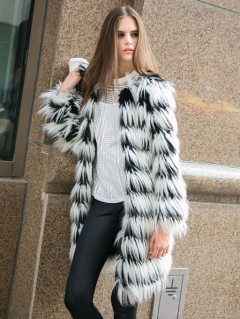 Black And White Stripes Long-line Fox Faux Fur Tassels Warm Coat - Choies.com