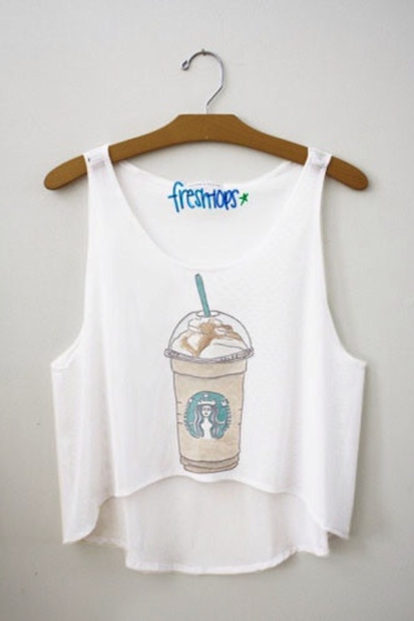 tank top starbucks coffee shirt starbucks coffee blouse top t-shirt style starbucks coffee fashion clothes tumblr summer white crop tops