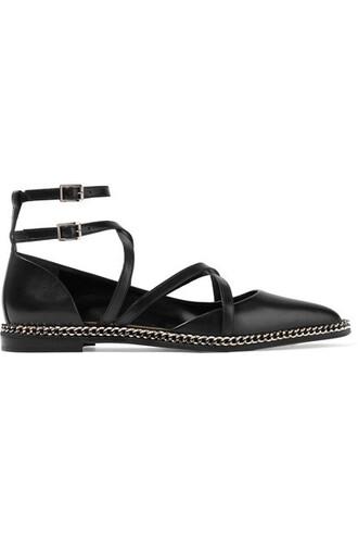 embellished flats leather black shoes