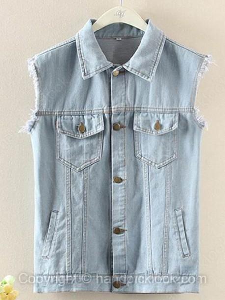 jacket vest denim denim vest acid wash light blue light denim