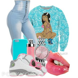shoes nicki minaj crew neck high waisted jeans jordan shoes iphone 5 case