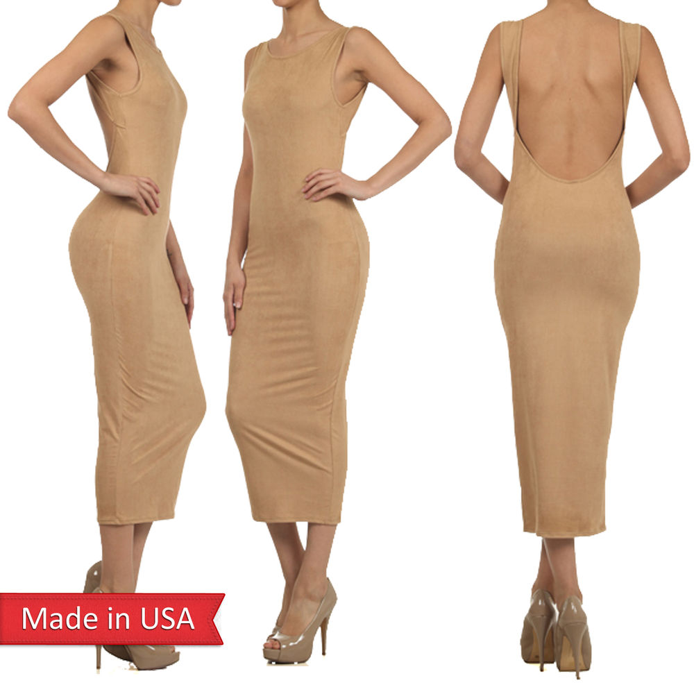 New Women Faux Suede Nude Camel Tan Color Open Back Sexy Elegant Long Dress USA