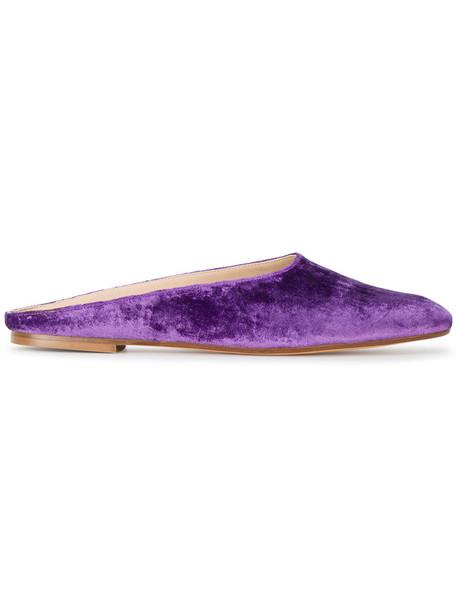 MARYAM NASSIR ZADEH women mules leather velvet purple pink shoes