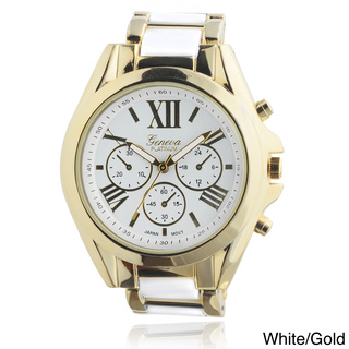 Geneva Platinum Women's Roman Numeral Metal Link Watch | Overstock.com Shopping - The Best Deals on Women's Geneva Watches