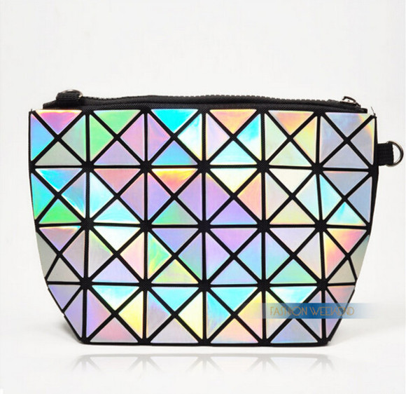 bag holographic baobao bag plaid bag issey miyake