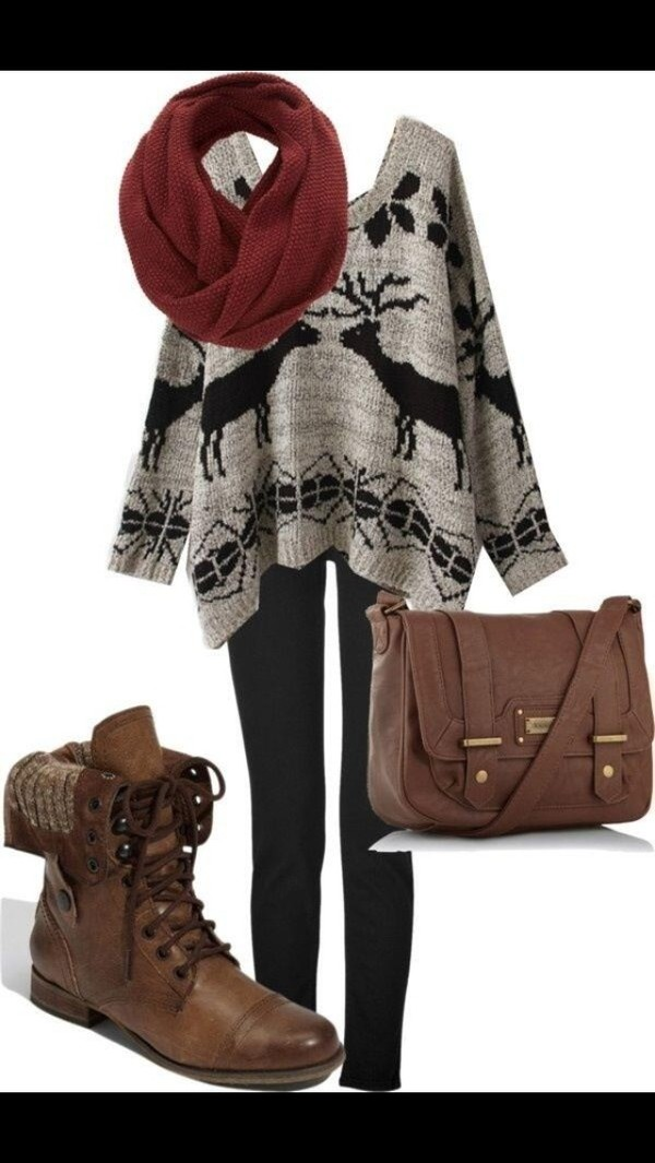 sweater scarf leggings combat boots shoes bag