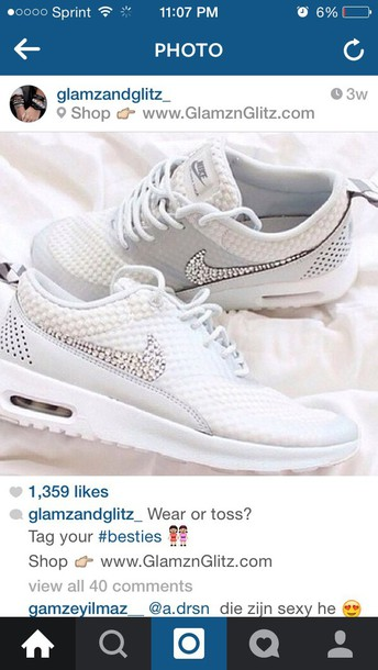 shoes white glitter nike