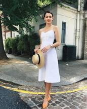 dress,midi dress,flats,white dress,straw hat,earrings,chain necklace