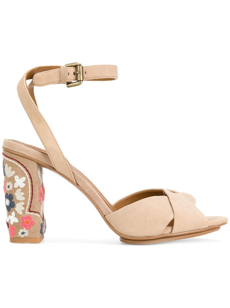 See by Chloe heel embroidered women sandals leather nude suede shoes