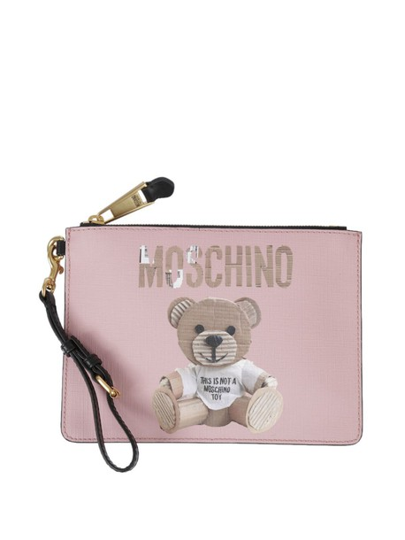 Moschino bear clutch print pink bag