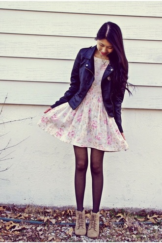 dress shoes lace-up shoes fashion floral dress jacket boots blazer brown high heels leather jacket tights jewels necklace indie outfit cute dress pink dress spring dress fall boots