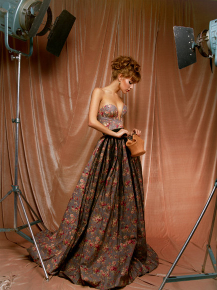 designer classy formal gown long print obsessed ulyana sergeenko 2012summer
