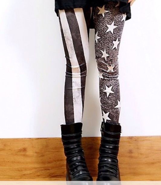 leggings black and white america flag leggings jeggings pants stripes black boots boots vintage