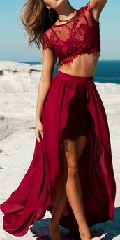 dress,lace,wedding,beach,two-piece,red set,red dress,high low skirt,skirt,crop tops,ruby,ruby red,prom,prom dress,sexy,pretty,cute,elegant,elegant dress,wedding guest,lace dress,two piece dress set,high low dress