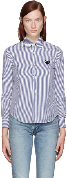 Comme Des Garçons Play Blue and White Striped Heart Shirt