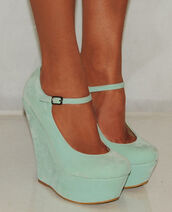 shoes,mint,wedges,girly,blue,high heels,mint green high heels,heels,teal sea green,suede,ankle strap,mint green skirt