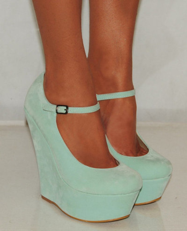 Onlineshoe Mint Suede Wedge Platform Shoes Ankle Strap - Mint