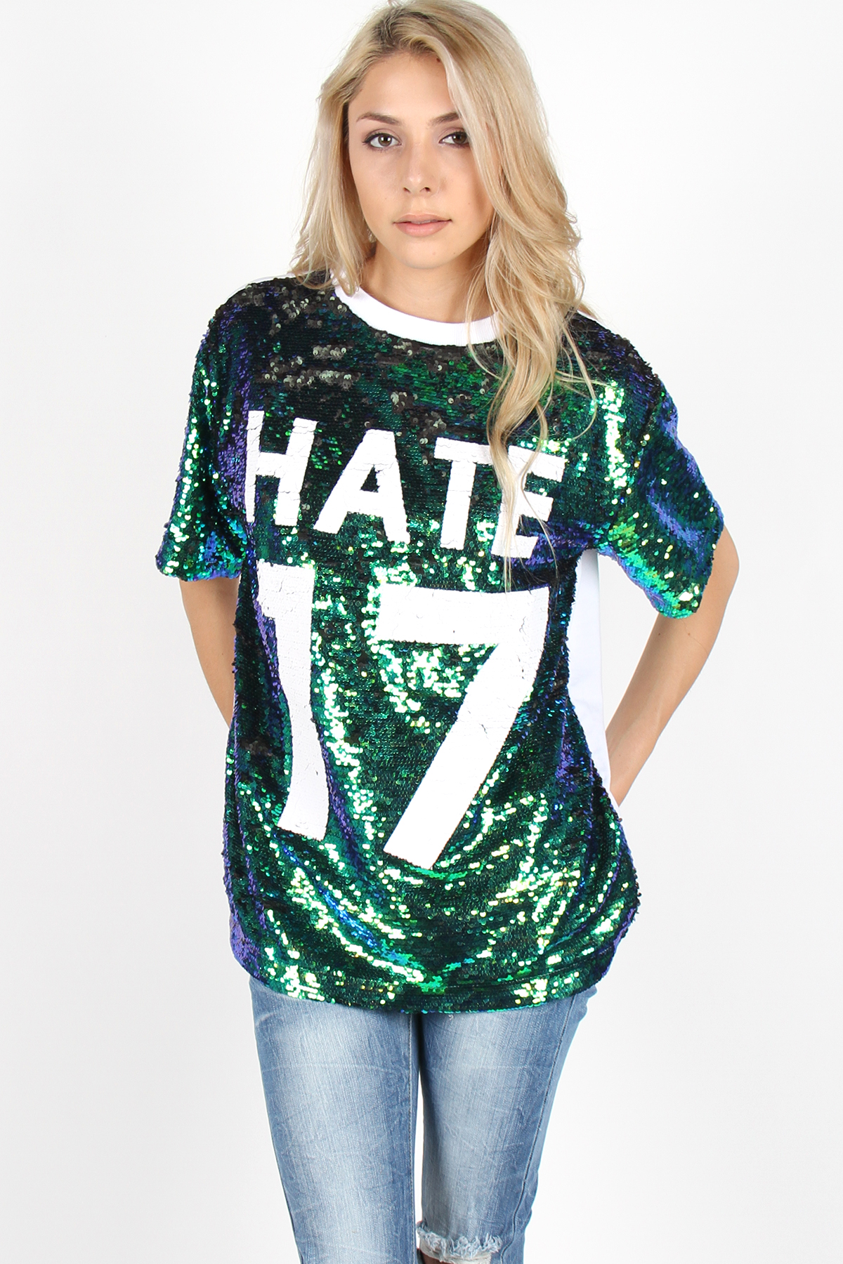 Hate 17 sequin tee