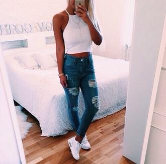jeans dyi jeans dyi slim skinny skinny jeans slim jeans ripped jeans blue women fashion apparel girl troué style weheartit white bleu blanc jewels