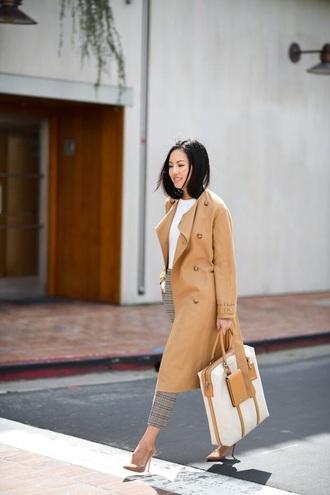 bag white bag coat camel coat pants plaid pants top pumps white top high heel pumps pointed toe pumps