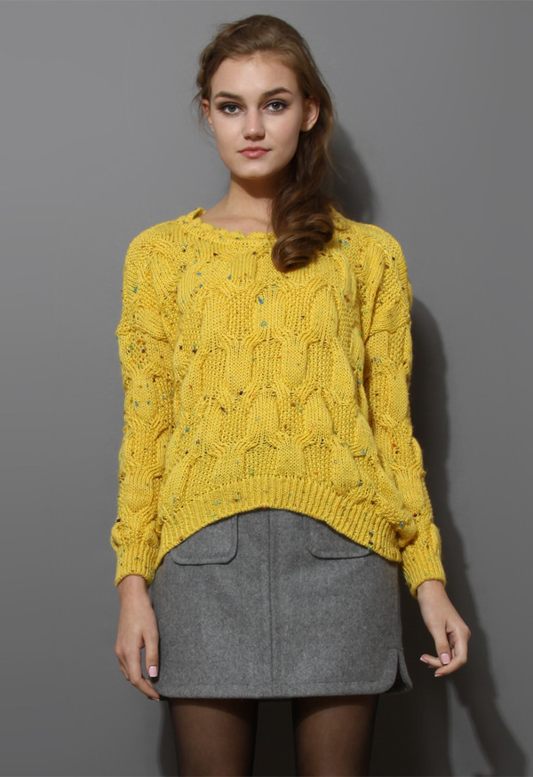 sweater candy dots knit scrolled neckline mustard