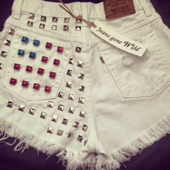 High waisted shorts high waist shorts studded denim shorts