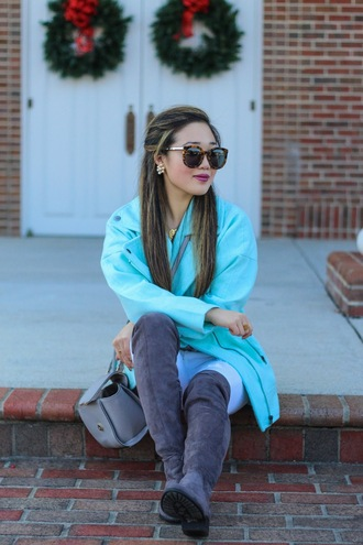 gracefullee made blogger flat boots suede boots grey boots turquoise aqua