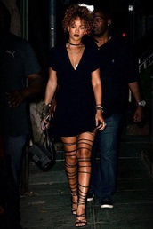 rihanna,strappy,heels,open toes,jewels,jewelry,necklace,choker necklace,black choker,rihanna style,lace up heels,black dress,absolutemarket