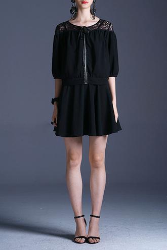 jacket dezzal goth fashion zara all black everything lace