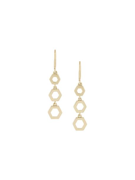 women triple earrings gold grey metallic jewels