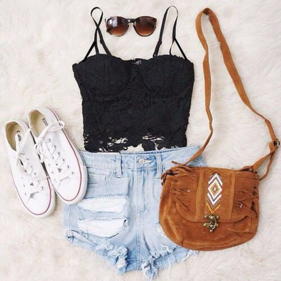 shorts ripped shorts bustier black bustier top sunglasses lace top lace bustier lace tank top cut offs brown bag hand bag cool indie converse white converse cutoffshorts low converse bag blouse