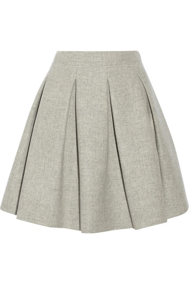Miu Miu | Pleated wool mini skirt | NET-A-PORTER.COM