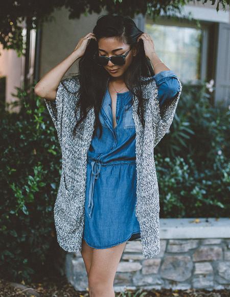 blogger denim honey n silk cardigan sunglasses knitwear