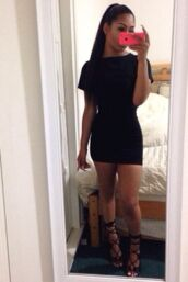 black mini dress,mini,bodycon,bodycon dress,two-piece,t-shirt,skirt,shoes,dress