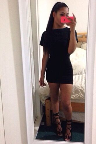 black mini dress mini bodycon bodycon dress two-piece t-shirt skirt shoes dress