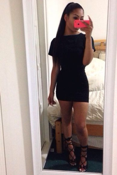shoes black mini dress mini bodycon dress two-piece t-shirt skirt