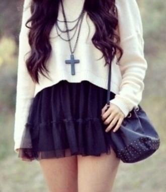 sweater white sweater crop top sweater skirt bag jewels