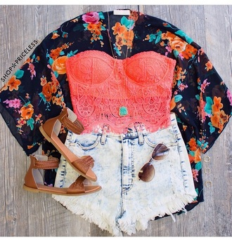 top crop tops kimono shorts shoes gladiators sunglasses jewels accessories bralette lace top outfit floral kimono fringes