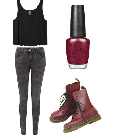 black tee shirt jeans opi nailpolish docmartens red grey pants DrMartens