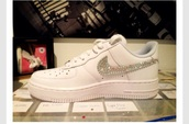 diamonds,white,shoes,nike air,nike forces,nike for women,nike forever