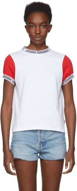 opening ceremony t-shirt shirt t-shirt white red top