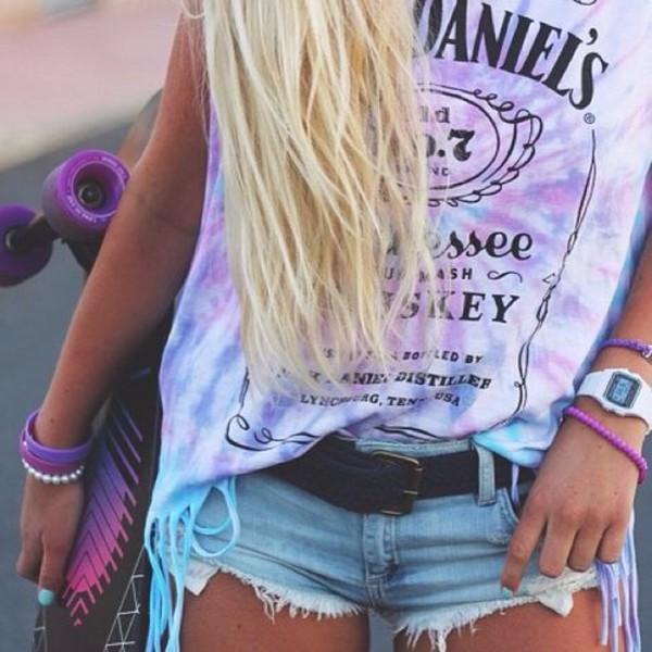 shirt tie dye tank top jack daniel's purple pink