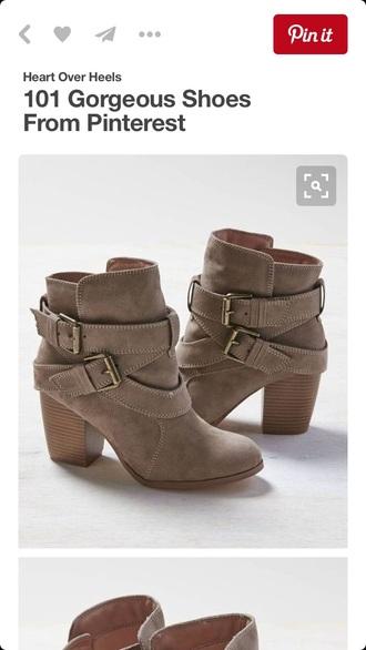 shoes tan beige booties boots buckles