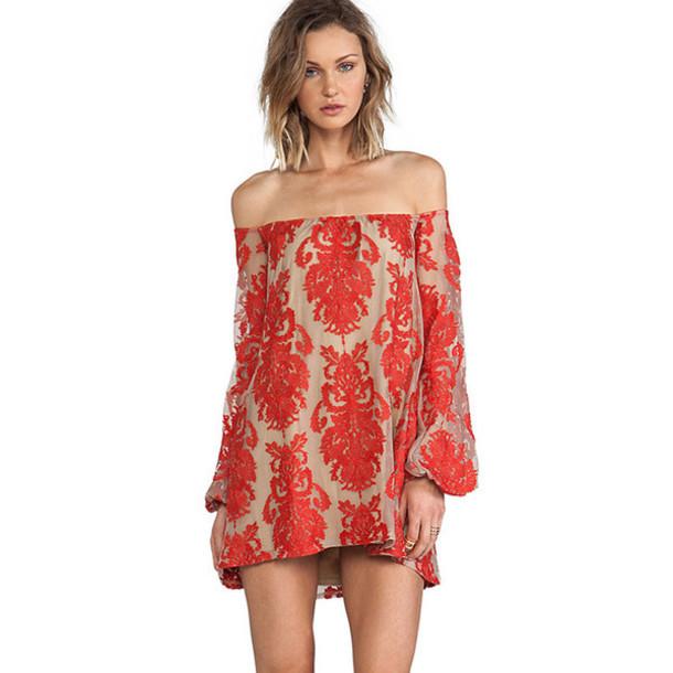lace dress fashion dress red dress