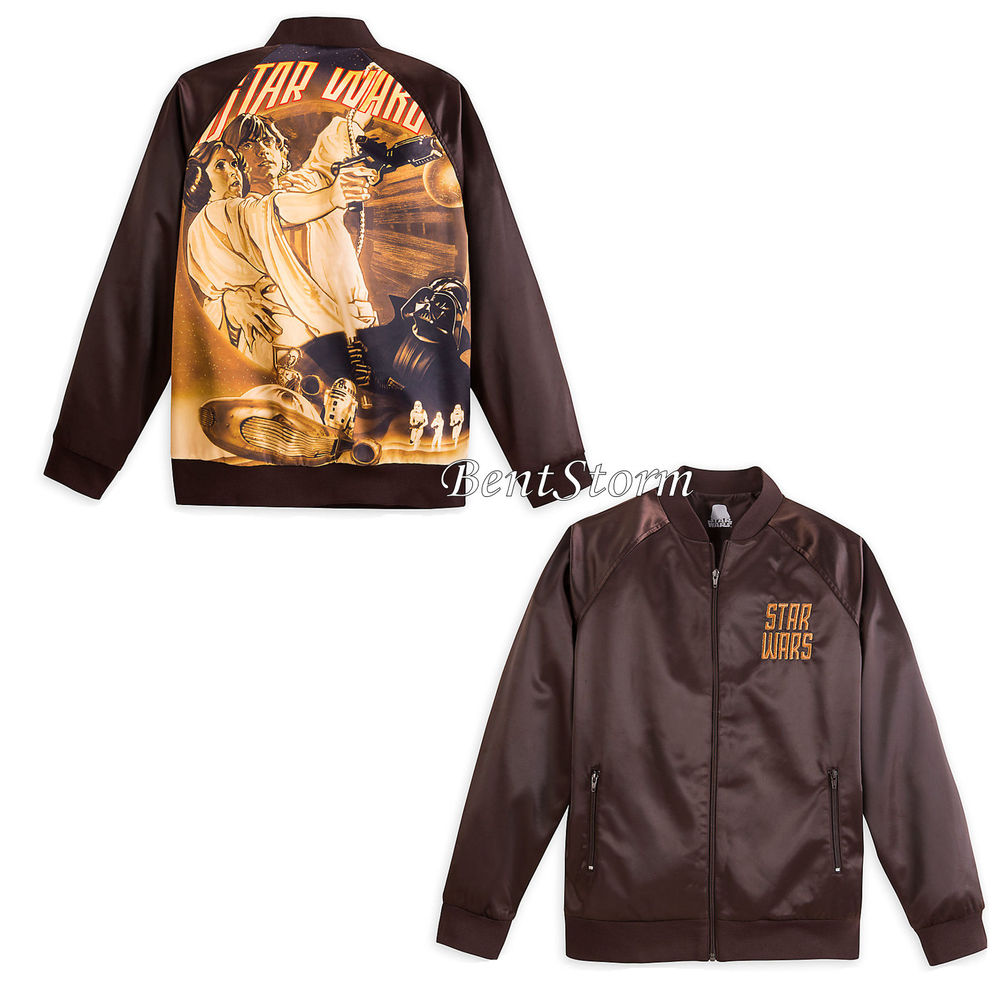 Wars Brown Satin Embroidered Baseball Jacket Coat for Adult Disney ...