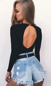 top,open back bodysuit,open back,open back top,backless,backless top,bodysuit,black bodysuit,denim,sexy