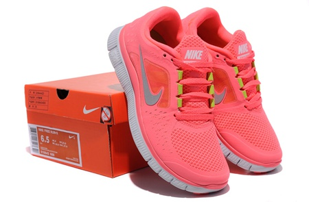 Discount Womens Nike Free Run 5.0 Coral Silver Running Shoes Shoes - $67.00