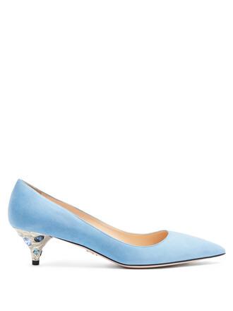 suede pumps embellished pumps suede light blue light blue shoes